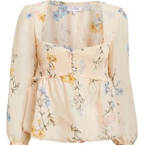 NWT INTERMIX Paola Printed Floral Silk Blouse